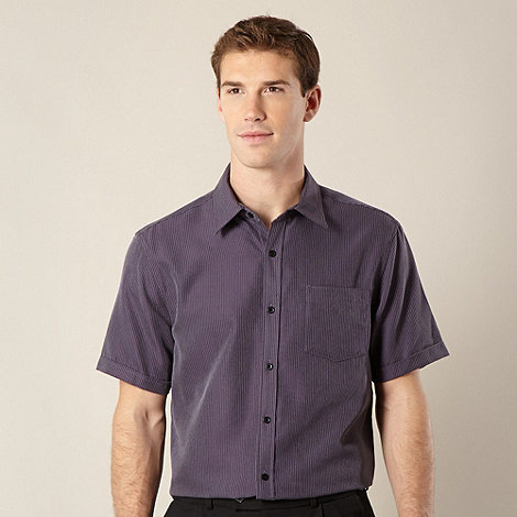 Thomas Nash - Purple textured striped shirt