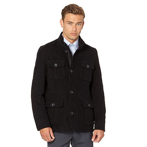 Thomas Nash - Big and tall dark grey italian moleskin coat