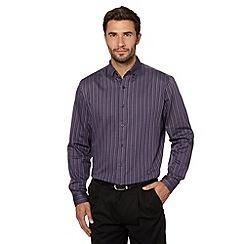 Thomas Nash - Big and tall purple twill striped shirt