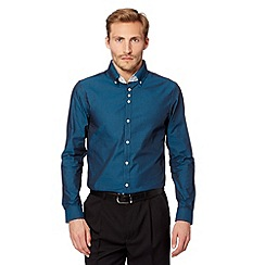 Thomas Nash - Dark turquoise plain double collar shirt