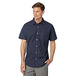 Thomas Nash - Navy flower spotted short sleeved shirt
