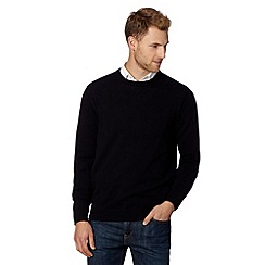 Thomas Nash - Big and tall navy lambswool ribbed jumper