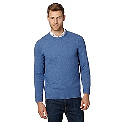 Thomas Nash - Mid blue lambswool ribbed jumper