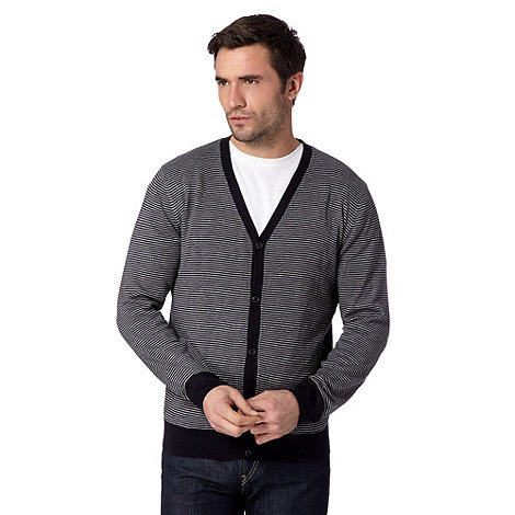Thomas Nash - Navy striped V neck cardigan