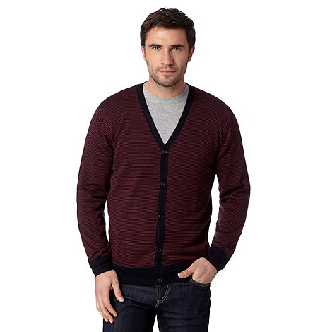 Thomas Nash - Big and tall maroon striped v neck cardigan