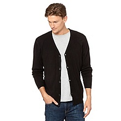 Thomas Nash - Big and tall black fine knitted cardigan