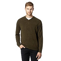 Thomas Nash - Big and tall olive V neck jumper