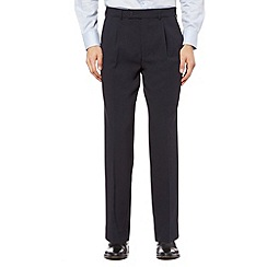 Thomas Nash - Navy pleat front flexible waist trousers
