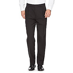 Thomas Nash - Black adjustable waist pleat front trousers