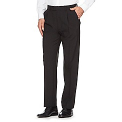 Thomas Nash - Big and tall black smart pleated trousers