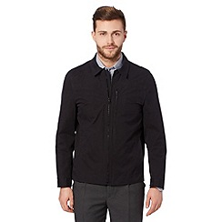 Thomas Nash - Big and tall black zip through harrington jacket