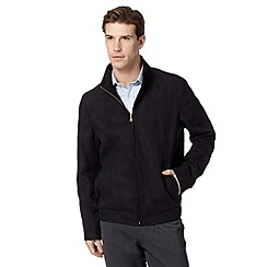 Thomas Nash - Big and tall navy suedette harrington jacket