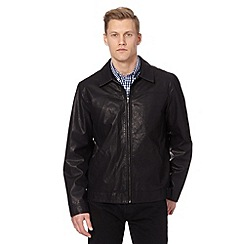 Thomas Nash - Big and tall black PU harrington jacket