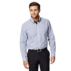 Thomas Nash - Big and tall navy checked double collar shirt