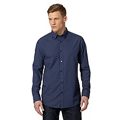 Thomas Nash - Navy mini geometric print shirt