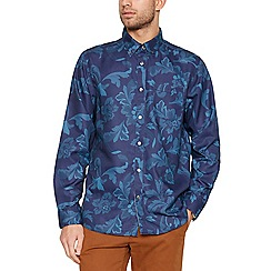 Thomas Nash - Big and tall blue striped and floral shirt