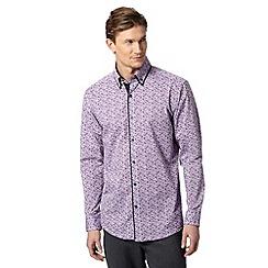 Thomas Nash - Big and tall purple floral double collar shirt