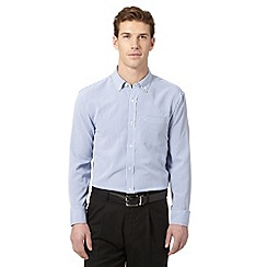 Thomas Nash - Big and tall blue long sleeved gingham shirt