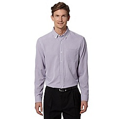 Thomas Nash - Big and tall purple long sleeved gingham shirt