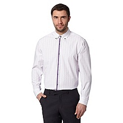 Thomas Nash - Big and tall purple diamond jacquard regular shirt