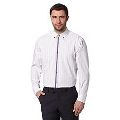 Thomas Nash - Purple diamond jacquard regular shirt