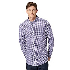 Thomas Nash - Purple gingham checked long sleeved shirt