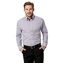 Thomas Nash - Big and tall purple checked double collar shirt