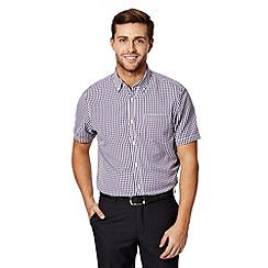Thomas Nash - Big and tall purple gingham button down collar shirt