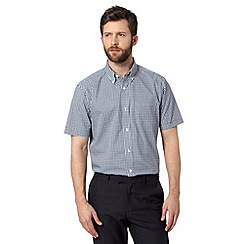 Thomas Nash - Turquoise gingham checked short sleeved shirt