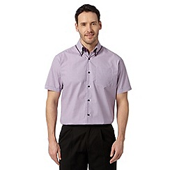 Thomas Nash - Purple geometric print short sleeved shirt