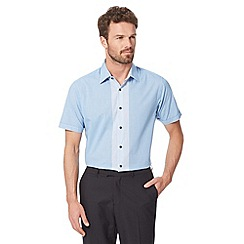 Thomas Nash - Big and tall blue gingham short sleeved shirt