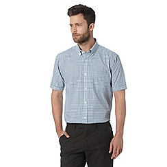 Thomas Nash - Big and tall light blue gingham checked short sleeved shirt