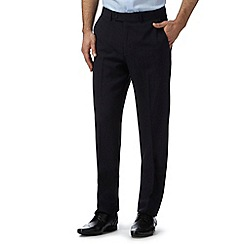 Thomas Nash - Big and tall navy flat front slim fit trousers