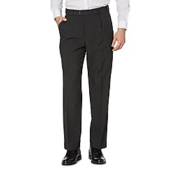 Thomas Nash - Big and tall grey plain polyester pleat front trousers