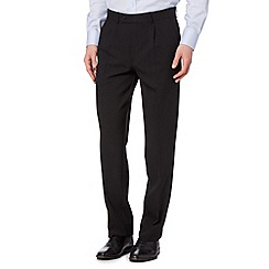 Thomas Nash - Big and tall black plain smart regular fit trousers
