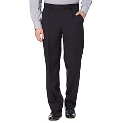 Thomas Nash - Navy herringbone pleat front trousers