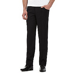 Thomas Nash - Black pleat front herringbone trousers