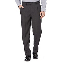 Thomas Nash - Big and tall grey pin dot pleat front trousers