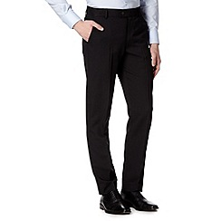 Thomas Nash - Big and tall black flat front herringbone trousers