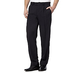 Thomas Nash - Big and tall navy herringbone trousers