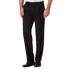 Thomas Nash - Black herringbone pleat front trousers