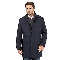 The Collection - Big and tall navy shower resistant mac coat