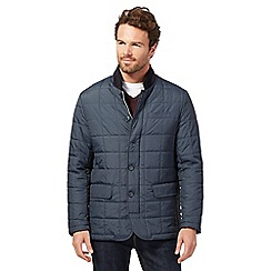 The Collection - Big and tall navy herringbone print quilted jacket