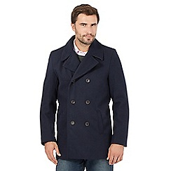 The Collection - Big and tall navy twill wool blend reefer coat