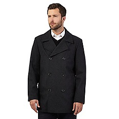 The Collection - Big and tall grey wool blend reefer coat