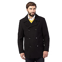 The Collection - Big and tall black reefer coat