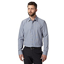 The Collection - Big and tall blue two tone spotted shirt
