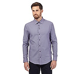 The Collection - Big and tall purple fine striped long sleeved shirt