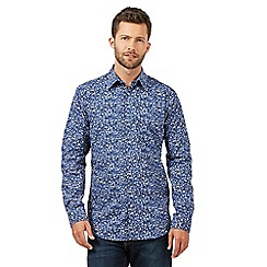 The Collection - Big and tall blue abstract floral shirt