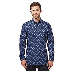 The Collection - Big and tall navy leaf print long sleeved shirt